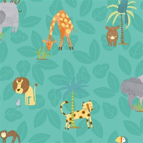 Animal Wallpaper Uk - holden jungle friends childrens animal wallpaper