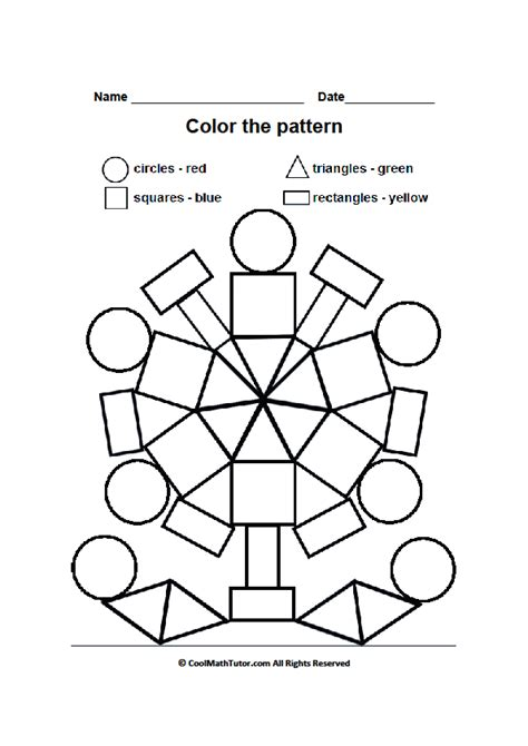 Preschool Worksheets Color by Shape