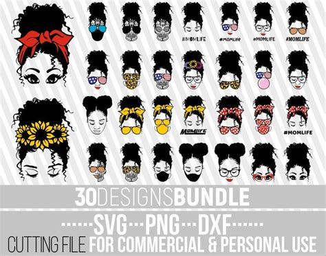 This listing includes the following high quality files that are perfect for cricut and silhouette cutters. 30x Messy Bun Designs Bundle svg African American svg   Etsy