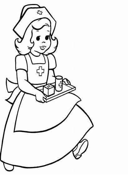 Nurse Coloring Pages Preschool Doctor Stethoscope Woman