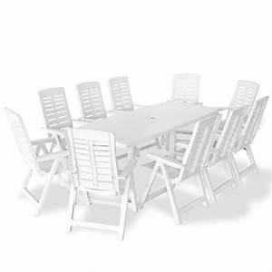 ensemble de table et chaises 10 personnes plastique blanc With ensemble de jardin plastique 7 fauteuil de terrasse rouge en plastique