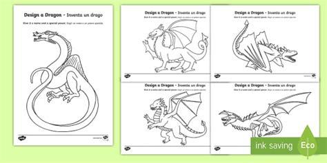 * New * Design A Dragon Activity Sheets  Italianenglish  Ks1, Year 1, Year