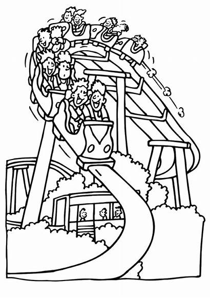 Roller Coaster Coloring Park Pages Amusement Drawing