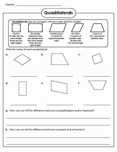 Worksheets Worksheet Math Shapes Geometry Grade Quadrilaterals