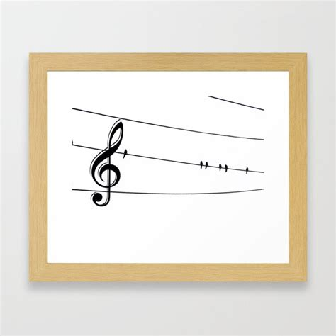 Reading a newspaper, i saw a picture of birds on the electric wires. Natures Choir Birds on Wire Music Note A611W Framed Art Print by nicolphotographicart   Society6