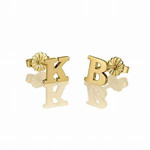 fashion gold color initial letter name stud earrings for women With gold letter stud earrings