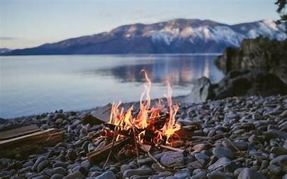 Fire Campfire Water Lake Nature Stone Depth