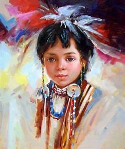 Little Native American Girl Child - More Art, oil ...
