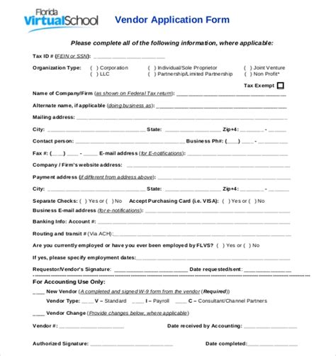 vendor application template   word  documents