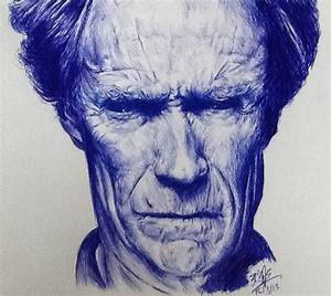 Ballpoint pen drawing of Clint Eastwood by chaseroflight ...