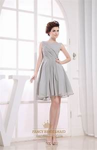 Gray short pleated chiffon a line bateau bridesmaid for Gray dresses for wedding
