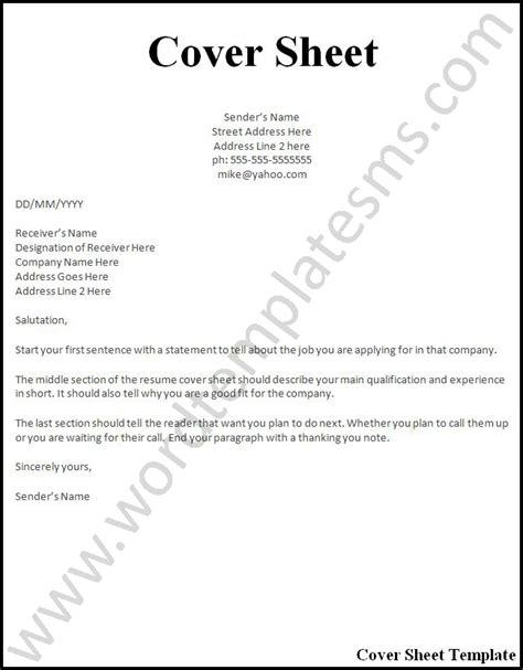 Professional Cover Sheet by Cover Sheet For Resume Letters Free Sle Letters