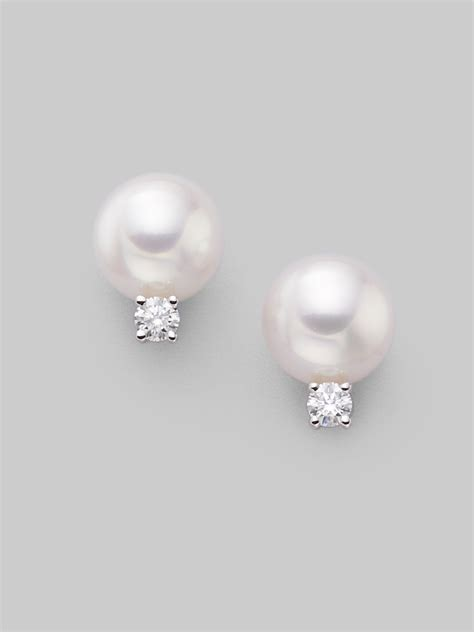 mikimoto mm white cultured pearl diamond  white