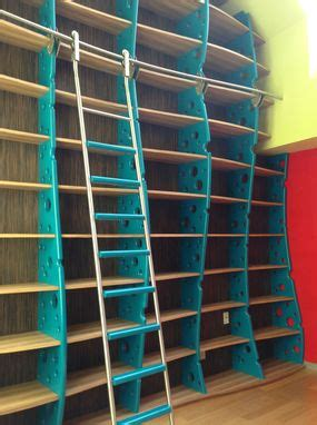 custom  bookcase wall library  ladder modern
