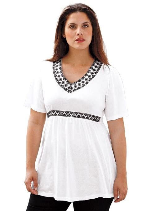 womens plus size blouses top tunic length embroidered empire waist by ellos