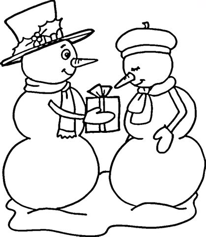 snowman couple coloring page free printable coloring pages