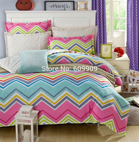 Online Cheap Colorful Chevron Bedding Full Duvet Cover Set