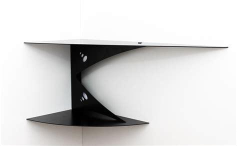 Etagère Murale D'angle Noire Fixation Invisible Tablette D