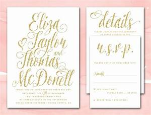 gold glitter wedding invitations printable diy wedding With wedding invitations sample pdf
