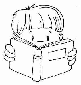 Child Reading A Book Clipart Black And White - ClipartXtras