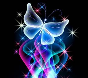 Neon Butterfly Sparkle Glitter Glow Wallpapers and