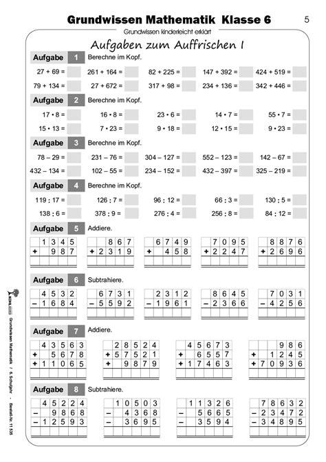 Mathe-Arbeitsblätter der 6. Klasse kostenloser Download