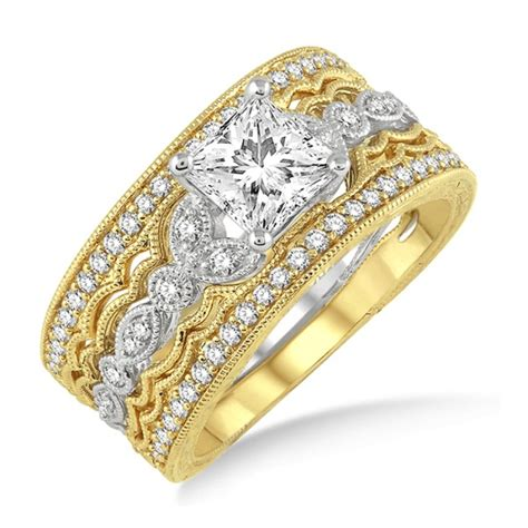 1 50 carat trio bridal engagement ring with princess in 10k white and yellow