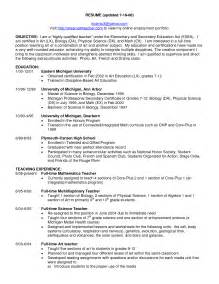 high resume exles for college certified teacher resume