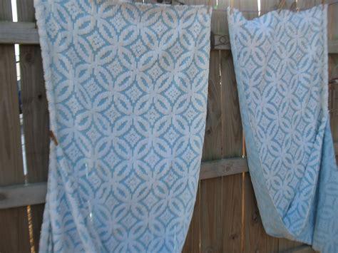 vintage blue cotton chenille bedspread matching