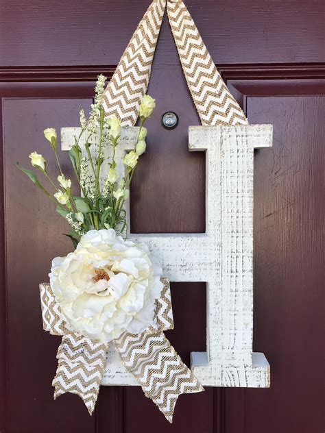 front door wreath whitewashed letter monogram letter distressed door decor housewarming