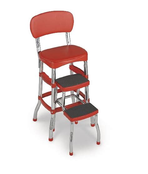 Red Counter Stool Vintage Retro Kitchen Chair Bar Seat
