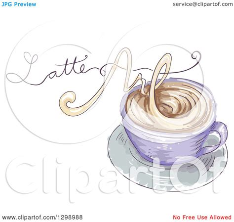 clipart   sketched coffee cup  latte art text   steam royalty  vector
