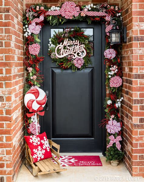 deck  front door  classic candy cane accents