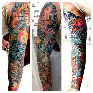 Men's full sleeve tattoo in a new school style with water ...