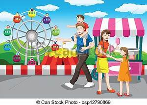 Clip Art Vector of Happy family going on a vacation - A ...