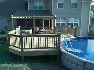 Decks for above ground swimming pools backyard design ideas for Above ground swimming pool deck designs