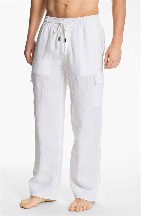 mens white linen pants drawstring Pi Pants