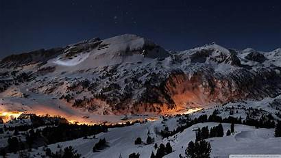 Winter Night Wallpapers Desktop 4k Moon Mountain
