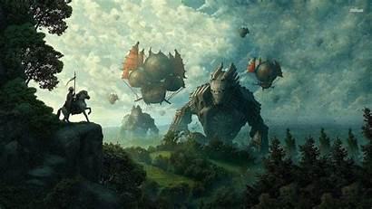 Medieval Airship Wallpapers Fantasy Desktop Landscape Background