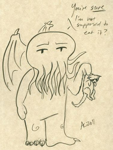 Cthulhu With A  Ee  Kitten Ee   Doodle Antemortem Arts Fine Art