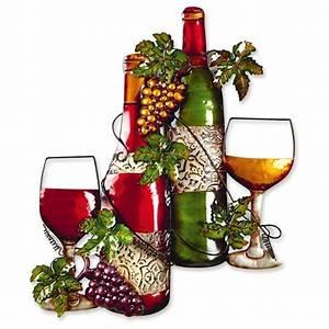 Metal wine bottle wall art