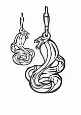 Earrings Template Coloring Snake sketch template