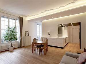 amenagement interieur exemples de faux plafonds astucieux With idee amenagement exterieur entree maison 12 verriare entre cuisine et salon photo de rp metal
