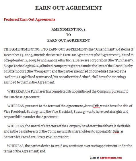 earn  agreement sample earn  agreement template