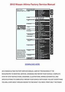 2012 Nissan Altima Factory Service Manual By Rosericci