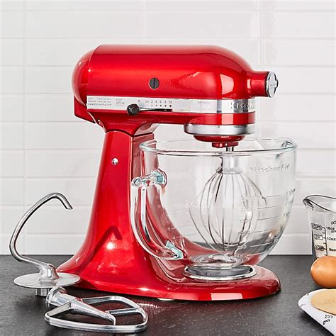 kitchenaid artisan design series candy apple red stand mixer crate  barrel