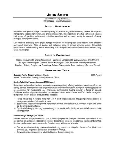 project manager resume resume and project management on