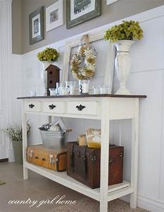 Country girl home added onto my diy entry table for Entry hall table decor