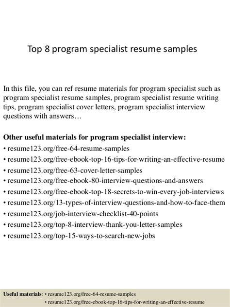 education program specialist resume top 8 program specialist resume sles