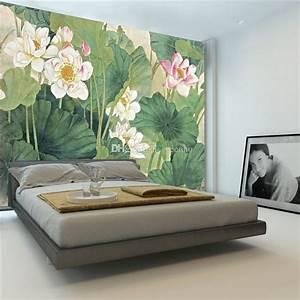 Elegant Lotus Painting Photo Wallpaper 3d Flowers